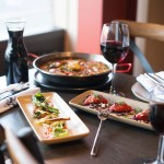 Wine, tapas, and paella