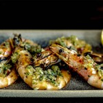 Head-on prawns with fresh gremolata