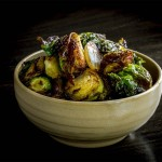 Fried Brussels sprouts with grapes