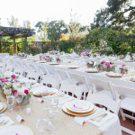 Garden wedding with white tables