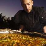 Chef Sergio Monleon cooking paella
