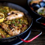 Grilled shrimp paella
