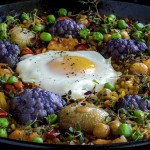 Farm egg on vegetarian paella